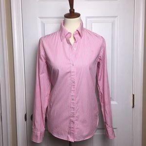 Ralph Lauren Pink White Pinstripe Button Down Top